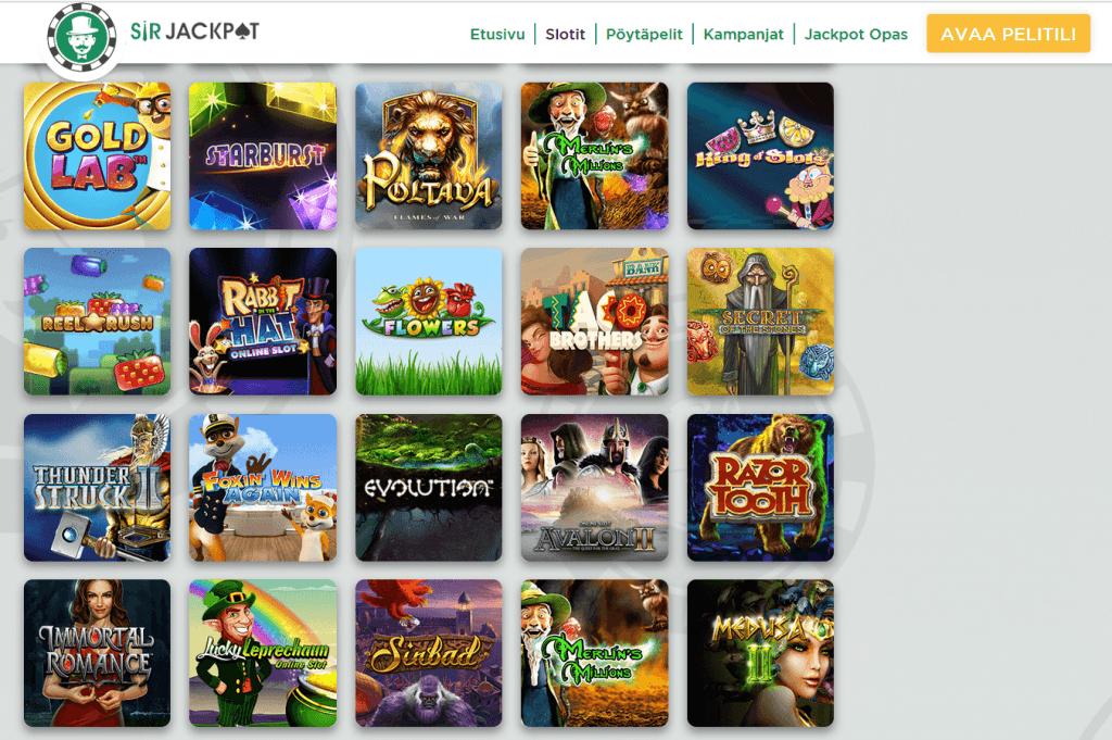 SirJackpot casino tarjoaa hyvän valikoiman erityisesti jackpot pelejä