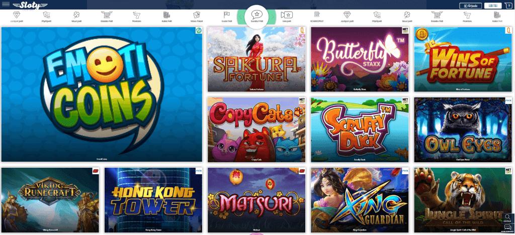 Sloty tarjoaa yli 380 eri kolikkopeliä