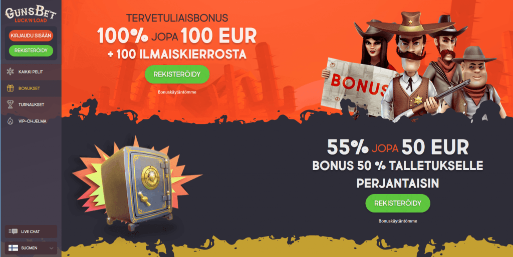 100 % bonusta aina 100 euroon asti Gunsbet bonuskoodi lucknload