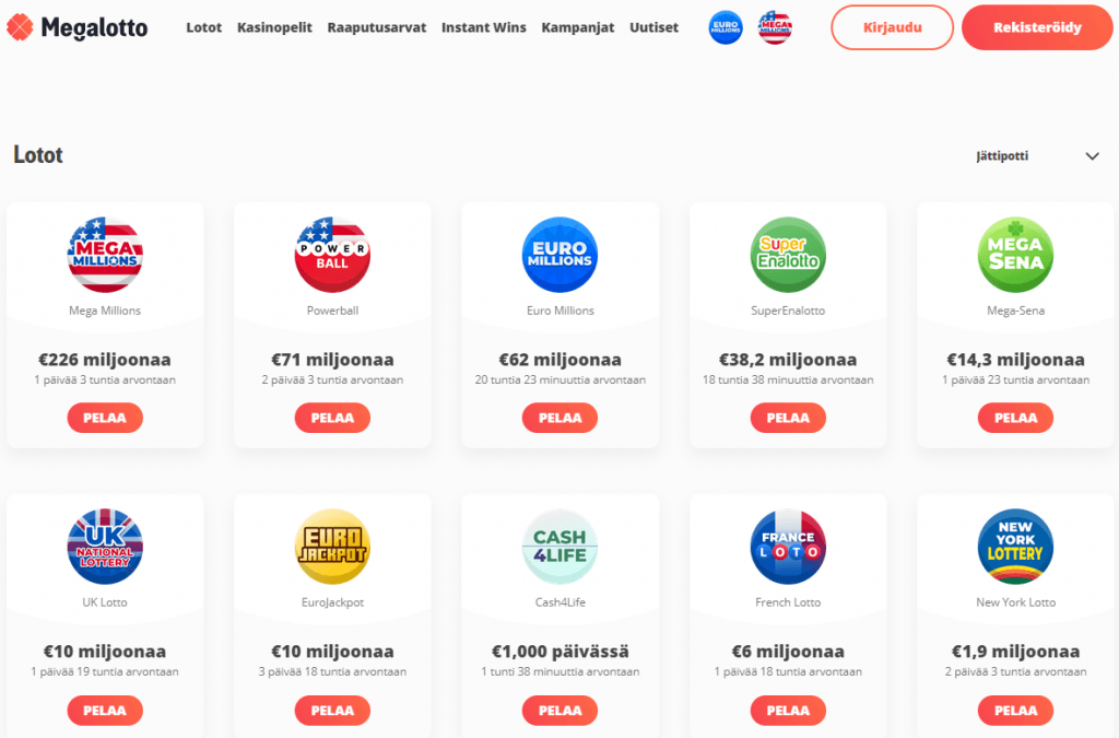 Megalotto tarjoaa pelejä useiden eri maiden lottoihin