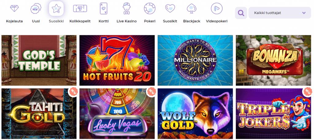 Pelejä yhteensä yli 1000 kappaletta Alf Casinon valikoimissa