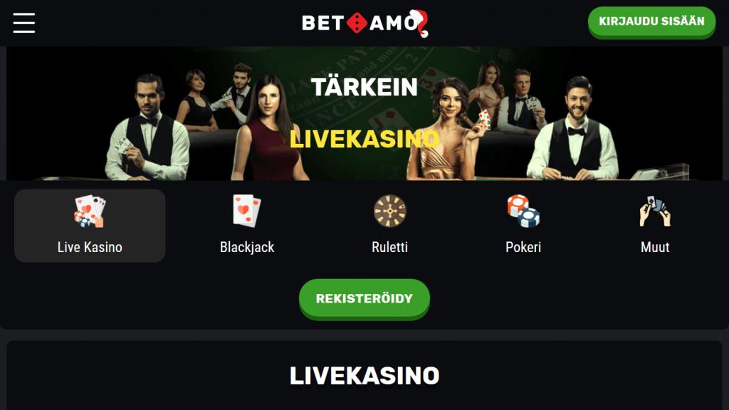 Betamo Live Casino + Muut Casinopelit