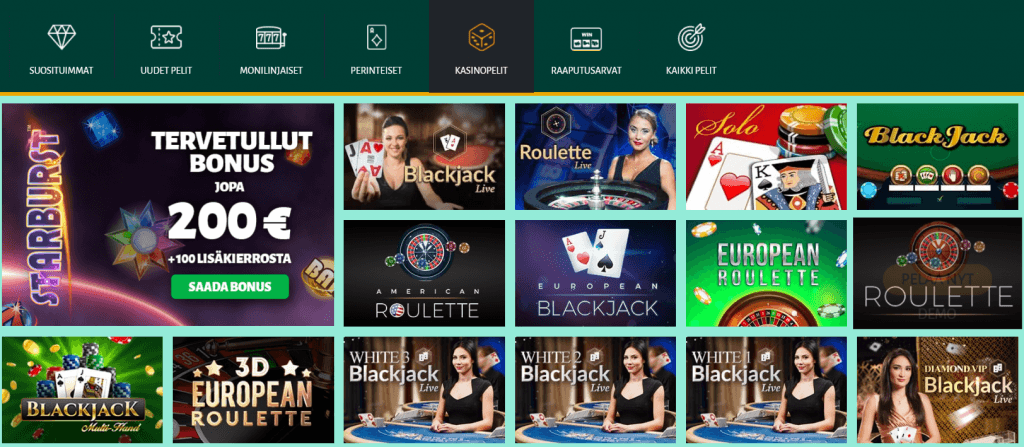 Billion casino tarjoaa hyvän pelivalikoiman