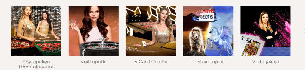 Kaikki bonuskampanjat Casino.com sivustolla