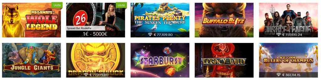 Casino.com palvelun pelivalikoimaa