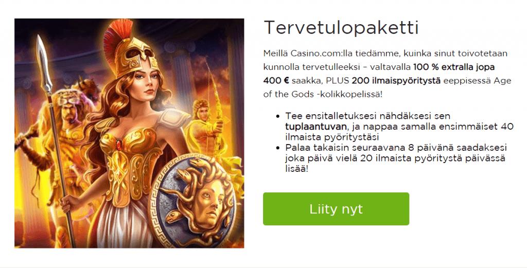Tervetuliais bonus Casino.com sivustolle