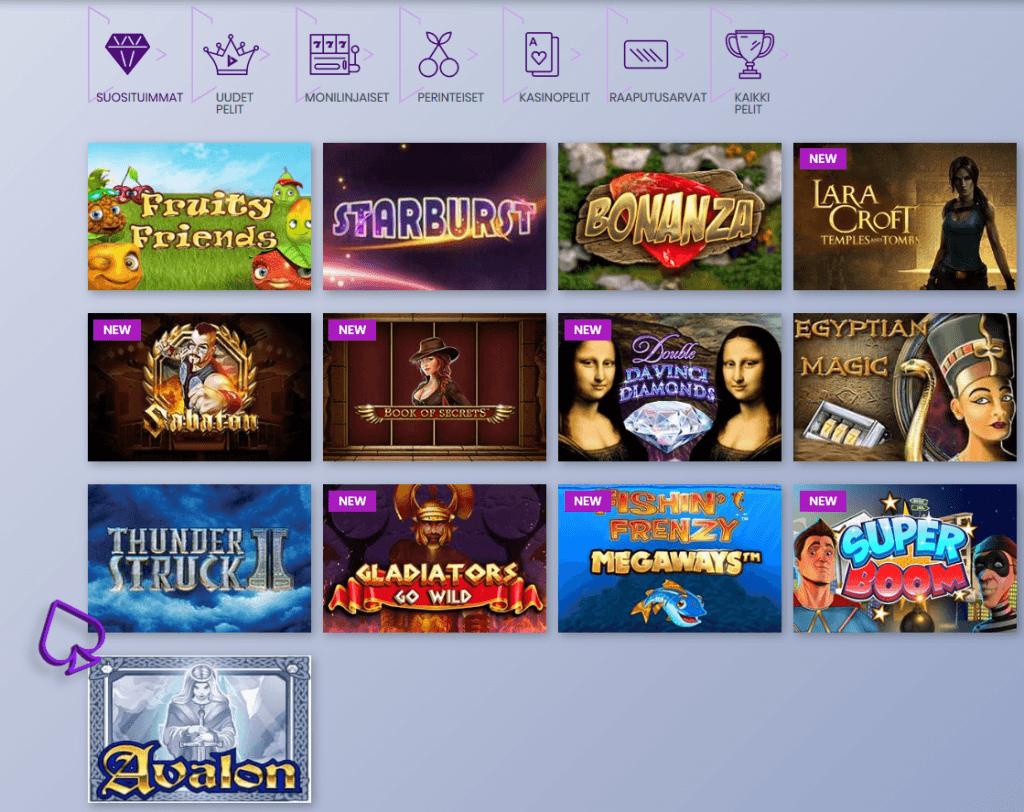 Loistava valikoima parhaita kasinopelejä sekä slotteja