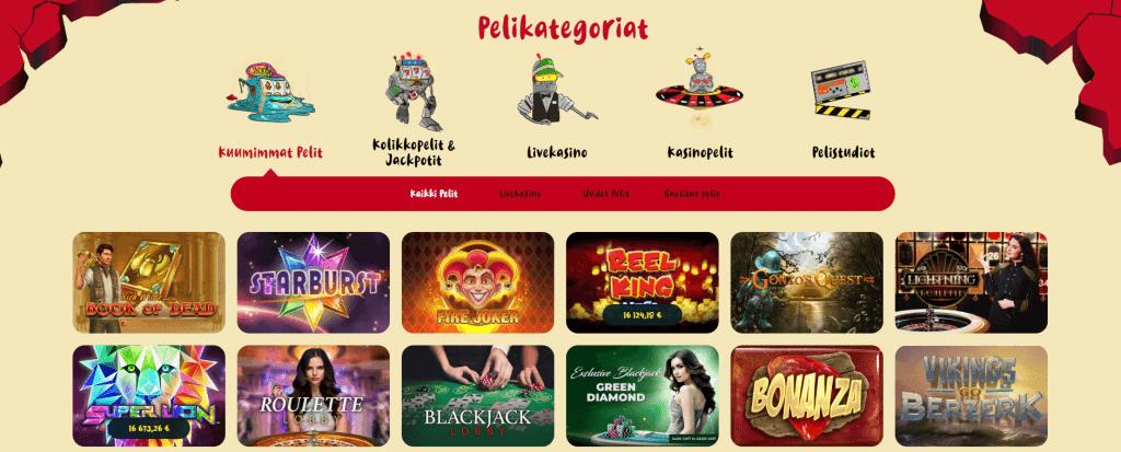 Casinopelit Casoola nettikasinolla