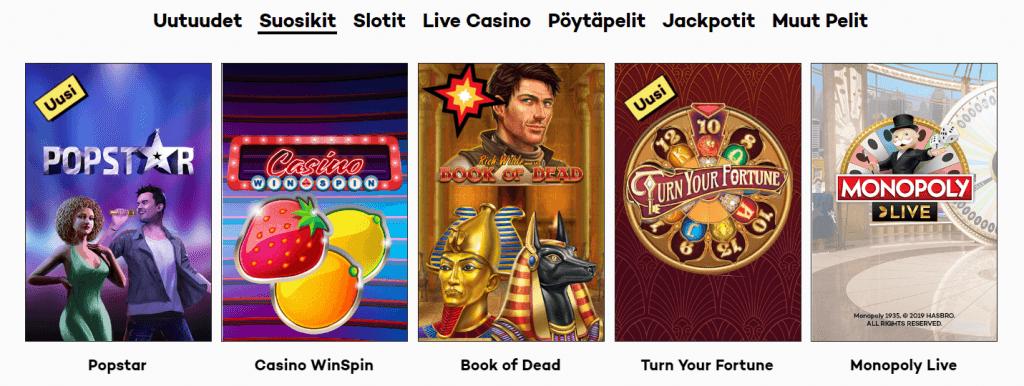 Hurja valikoima suosituimpia kolikkopelejä Highroller kasinolla