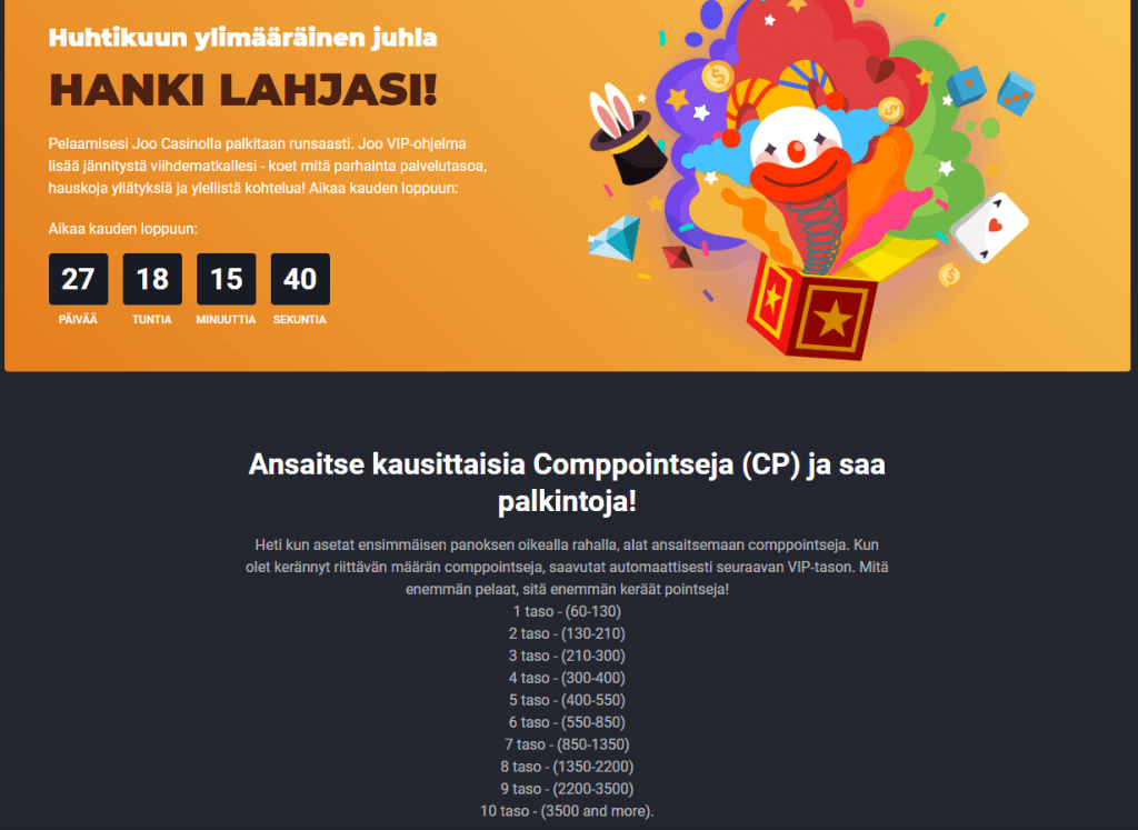 Joo Casino Bonukset & VIP