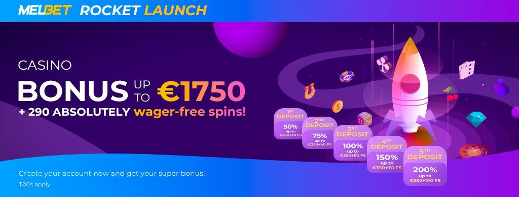 Melbet casino bonus on yhteensä jopa 1750 euroa