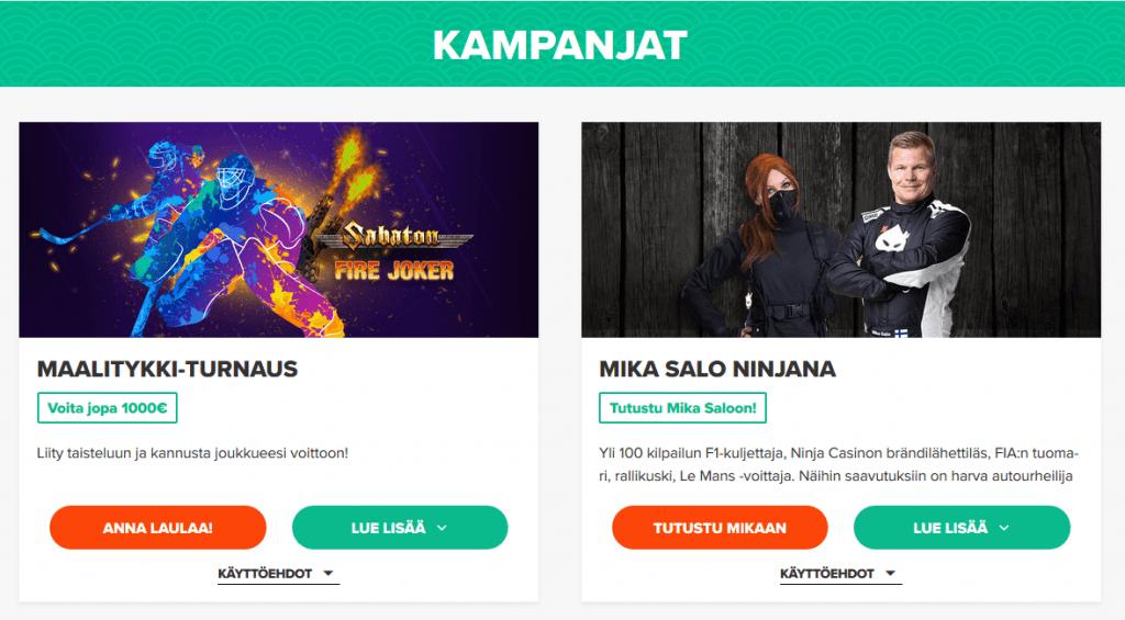 Bonuksia ja kampanjoita Ninja Casinolta