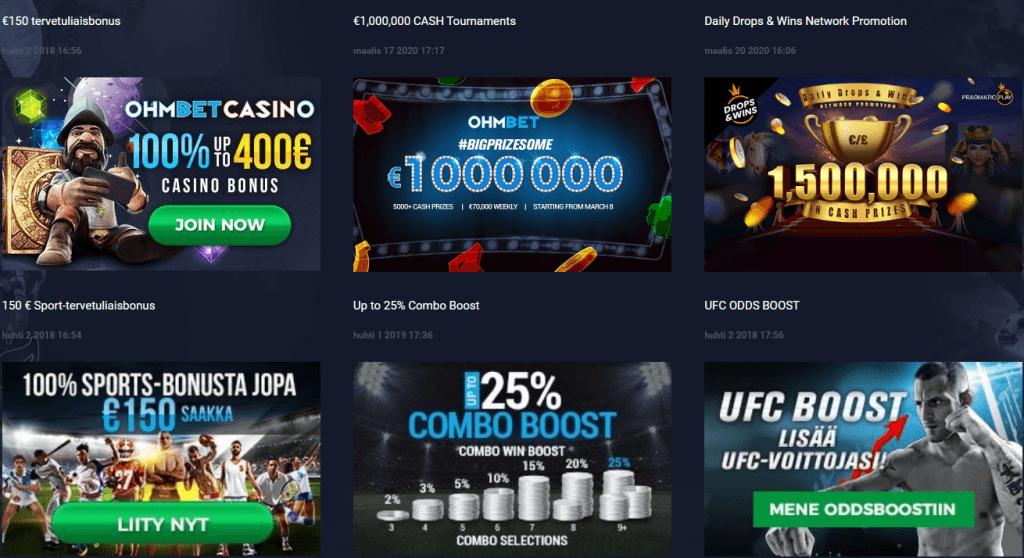 Ohmbet casinon kampanjat ja bonukset