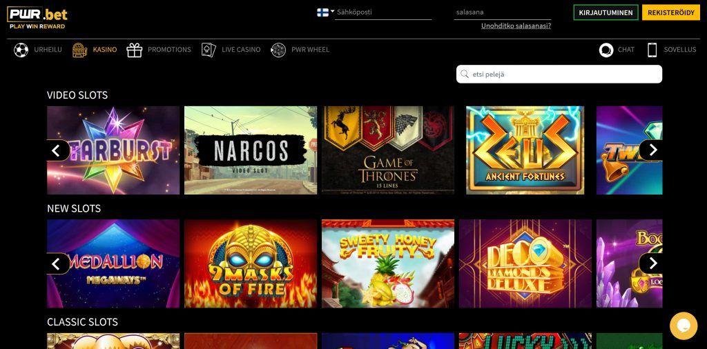 PWR casino tarjoaa perinteisiä slotteja sekä live casinon pelejä