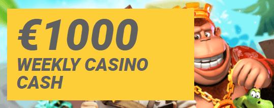 1000€ cashback viikoittain Reload Bet casinolta