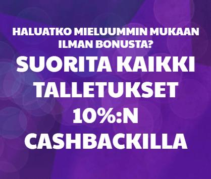 Cashback bonusten avulla rahaa takaisin pelitilille