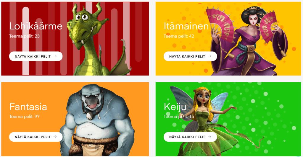 Slots.io antaa käyttäjän valikoida kolikkopelit eri teemojen mukaan