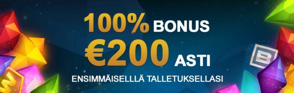 100% bonus 200€ Videoslotsilta