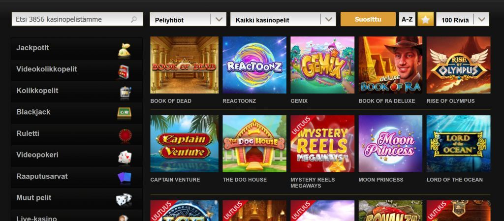 Videoslots pelivalikoima kattaa yli 71 tarjoajaa ja 3856 casinopeliä